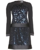 Victoria, Victoria Beckham Crepe Dress With Sequined Underlay - Lyst