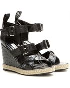 Balenciaga Rope Track Leather Wedge Sandals - Lyst