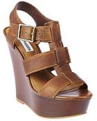 Steve Madden Wanting Leather Wedge Sandals - Lyst
