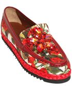 Dolce & Gabbana 20Mm Embellished Rose Printed Loafers - Lyst