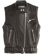 Balmain Leather Vest - Lyst