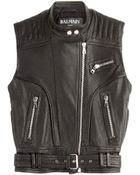 Balmain Leather Vest - Lyst