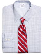 Brooks Brothers Supima Cotton Noniron Slim Fit Point Collar Twill Framed Check Luxury Dress Shirt - Lyst