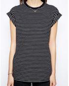 Asos Boyfriend T-Shirt With Roll Sleeve In Stripe - Lyst