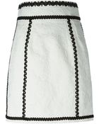 Dolce & Gabbana Contrast Trim Embroidered Skirt - Lyst