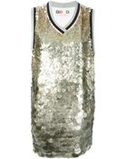 MSGM Sequins Embroidered Front Sweater Dress - Lyst
