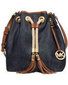 Michael Kors Marina Large Denim Shoulder Bag - Lyst