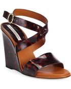 Diane von Furstenberg Wilma Tortoise-Print Patent Leather Wedge Sandals - Lyst