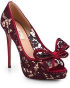 Valentino Couture Lace Bow Platform Pumps - Lyst