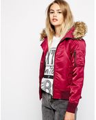 Schott Nyc Nyc Hooded Bomber Jacket With Faux Fur Collar - Lyst