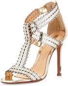 Schutz Goodness Metallic Leather Sandal - Lyst