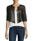 Milly Perforated Cropped Jacket - Lyst