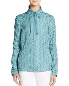 St. John Ruched Sleeve Printed Jacket - Lyst