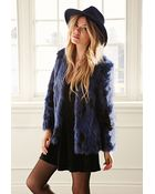 Forever 21 Collarless Two-Tone Faux Fur Jacket - Lyst