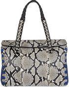 Roberto Cavalli Leather Python Satchel Bag Bag - Lyst