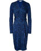Issa Draped Printed Jersey Dress - Lyst