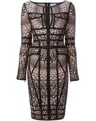 Hervé Léger Jacquard Pattern Fitted Dress - Lyst