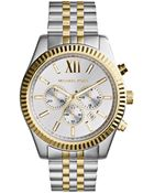 Michael Kors Mid-Size Two-Tone Stainless Steel Lexington Chronograph Watch - Lyst