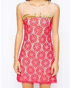 Little Mistress Floral Lace Shift Dress With Sheer Panel - Lyst