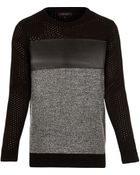 River Island Black Panel Long Sleeve Jumper - Lyst