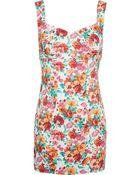 Awake Floral Print Short Dress - Lyst