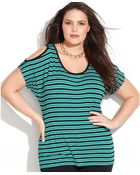 Michael Kors Michael Plus Size Striped Coldshoulder Top - Lyst