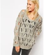 Asos Premium Sweater With Open Stitch - Lyst