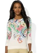 Lauren by Ralph Lauren Floral Crew Neck Sweater - Lyst