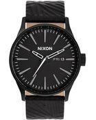Nixon Sentry Black Leather Strap Watch - Lyst