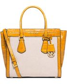 MICHAEL Michael Kors Colette Large Embossed-Leather And Canvas Satchel - Lyst