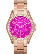 Fossil Women'S Riley Rose Gold-Tone Stainless Steel Bracelet Watch 38Mm Es3531 - Lyst