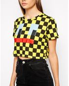 Lazy Oaf Crop Top with Face Check Print - Lyst