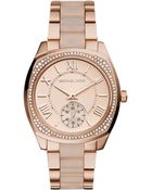 Michael Kors Women'S Bryn Blush Acetate And Rose Gold-Tone Stainless Steel Bracelet Watch 40Mm Mk6135 - Lyst