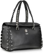Roberto Cavalli Small Black Leather Satchel W/Metal Detail - Lyst