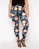 Asos Curve High Waist Skinny Pant In Scuba Floral - Lyst