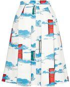 OSMAN Pleated Door Print Skirt - Lyst