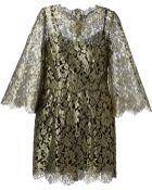 Dolce & Gabbana Metallic Floral Lace Dress - Lyst