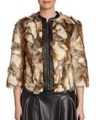 Twelfth Street Cynthia Vincent Faux Leather Trimmed Faux Fur Jacket - Lyst