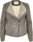 River Island Grey Leather Collarless Biker Jacket - Lyst