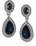 Carolee Blue Crystal Double-Drop Earrings - Lyst