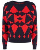 DKNY Geometric Dolman Sweater - Lyst
