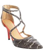 L.A.M.B. Black And White And Orange Snake Embossed Leather Pumps - Lyst