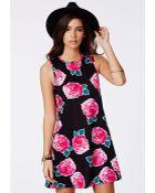 Missguided Lilian Oversized Swing Dress Rose Print - Lyst