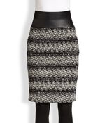 Akris Punto Faux Leather-Trimmed Tweed Pencil Skirt - Lyst