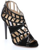 Jimmy Choo Black Suede And Patent Leather Cutout Peep Toe 'Vector' Sandals - Lyst