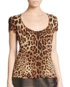 Dolce & Gabbana Jaguar Print Stretch-Silk Top - Lyst