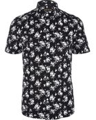 River Island Black Floral Print Short Sleeve Shirt - Lyst