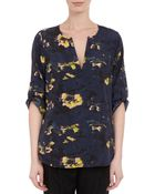 Barneys New York Floral-Print Tunic Blouse - Lyst