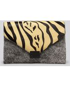 Loeffler Randall Clutch Zebra Lock - Lyst