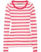 Enza Costa Striped Fineknit Cashmere Sweater - Lyst